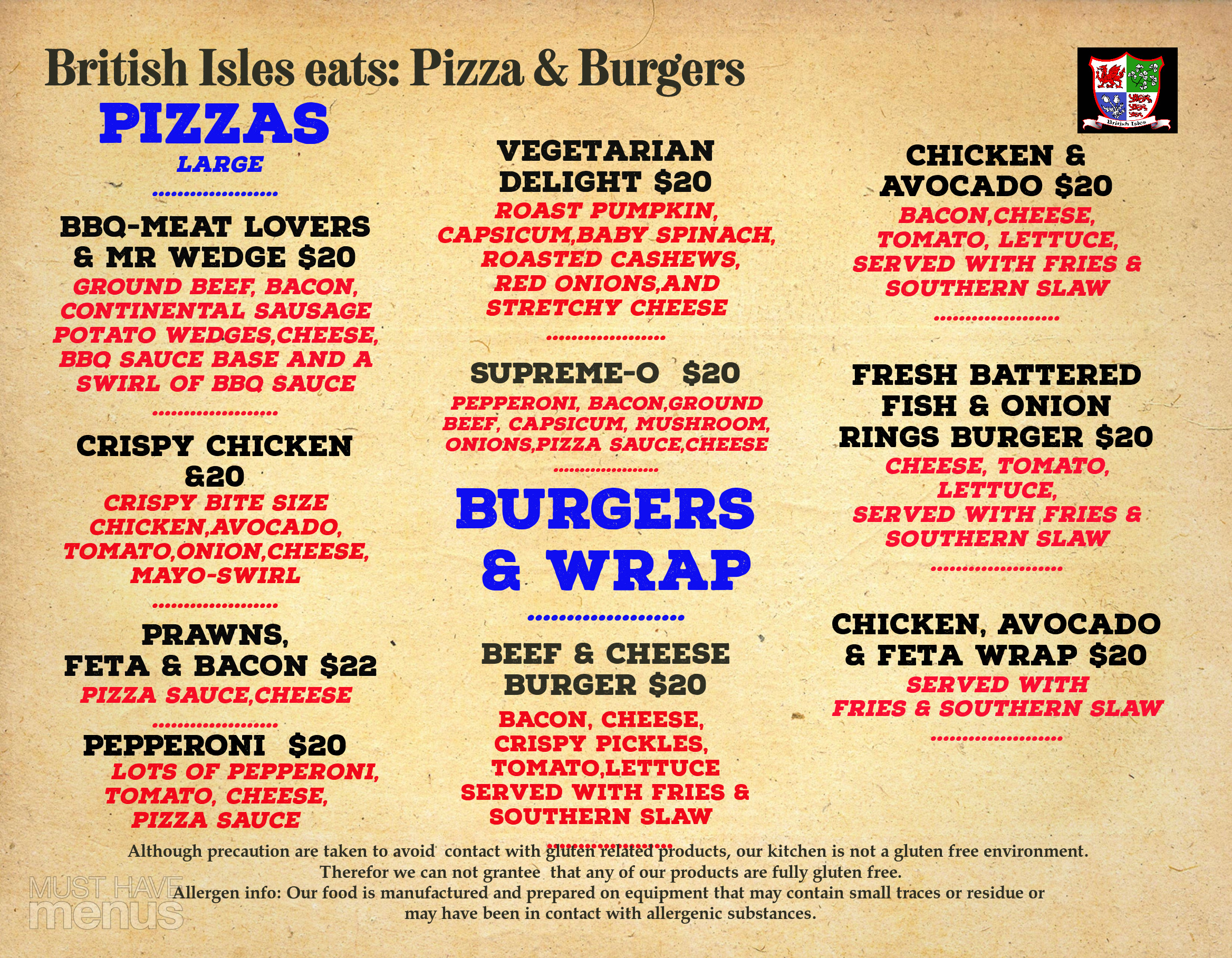Pizza Burger Menu